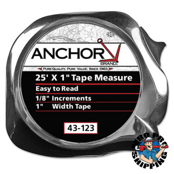 Anchor Products Easy to Read Tape Measures, 1 in x 25 ft, Yellow (1 EA/EA)