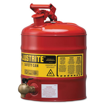 Justrite Type I Safety Cans, Flammables, 5 gal, Red, w/540 Faucet (1 EA/EA)