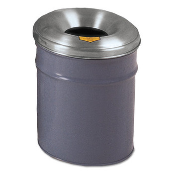 Justrite Cease-Fire Waste Receptacles, 6 gal, Head: Aluminum, Gray (1 EA/BX)