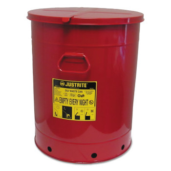 Justrite Red Oily Waste Cans, Hand Operated Cover, 21 gal, Red (1 CAN/EA)