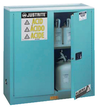 Justrite Blue Steel Safety Cabinets for Corrosives, Manual-Closing Cabinet, 30 Gallon (1 EA/EA)