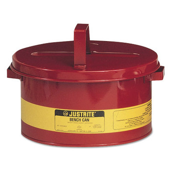 Justrite Bench Cans, Hazardous Liquid Cleaning Can, 3 gal, Red (1 CAN/EA)