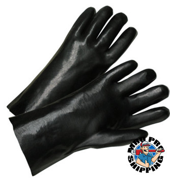 Anchor Products 12 in Long PVC Coated Gloves, Black (12 Pair)