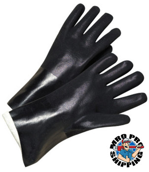 Anchor Products 14 in Long PVC-Coated Jersey-Lined Gloves, Black (12 Pair)