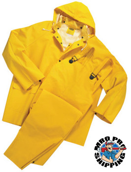 Anchor Products Three-Piece Rainsuit, Jacket/Hood/Overalls, 0.35 mm PVC/Poly, Yellow, Large (1 EA)