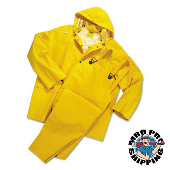 Anchor Products Rainsuit, Jacket w/Hood, Overalls, 0.35 mm PVC/Poly, Yellow, 14 1/4 in Small (1 EA)