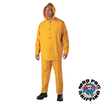 Anchor Products Three-Piece Rainsuit, Jacket/Hood/Overalls, 0.35 mm PVC/Poly, Yellow, X-Large (1 EA)