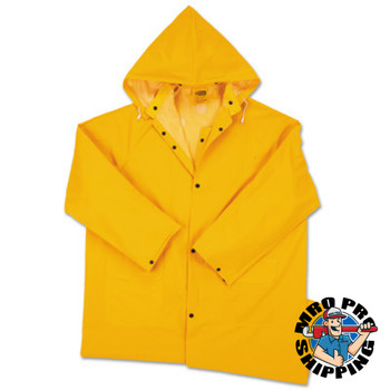 Anchor Products Polyester Raincoat, 0.35 mm PVC/Polyester, Yellow, 48 in, Large (1 EA)