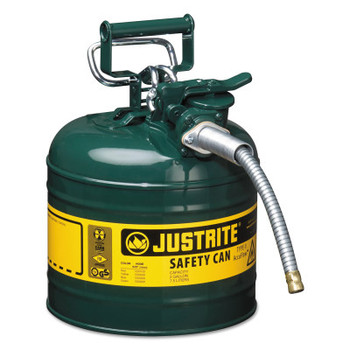 Justrite Type II AccuFlow Safety Cans, Gas/Oil, 2 gal, Green (1 EA/CA)