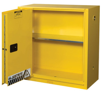 Justrite Yellow Safety Cabinets for Flammables, Self-Closing Cabinet, 30 Gallon, 1 Door (1 EA/EA)
