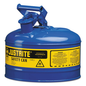 Justrite Type I Safety Cans, Gas/Oil, 2 1/2 gal, Green (1 EA/EA)