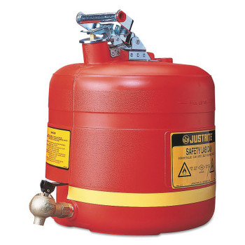 Justrite Nonmetallic Safety Cans for Laboratories, Hazardous Liquid Storage, 5 gal, Red (1 EA/EA)
