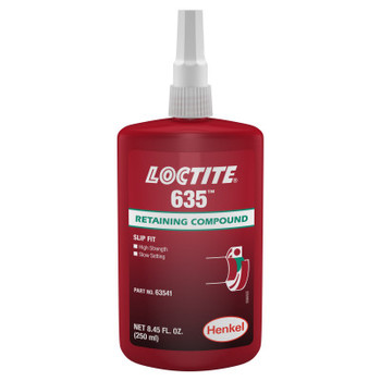LOCTITE 635 Retaining Compound, High Strength/Slow Cure, 250 mL Bottle, Green, 4,000 psi (1 BTL/BOX)