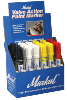Markal Valve Action Paint Marker Counter Displays, (8)White;(8)Yellow;(4)Red;(4)Black (24 CS/EA)