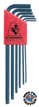 Bondhus Balldriver L-Wrench Key Sets, 6 per holder, Hex Ball Tip, Metric (1 SET/BX)