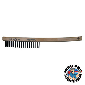 Anchor Products Hand Scratch Brushes, 4 X 18 Rows, Carbon Steel Bristles, Curved Wood Handle (1 EA)