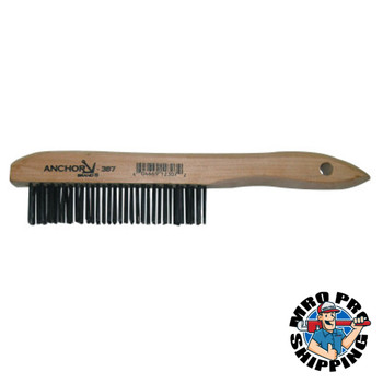 Anchor Products Hand Scratch Brushes, 4 X 16 Rows, Carbon Steel Bristles, Shoe Wood Handle (1 EA)