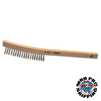 Anchor Products Hand Scratch Brushes, 3 x 19 Rows, Stainless Steel Wire, Curved Wood Handle (1 EA)