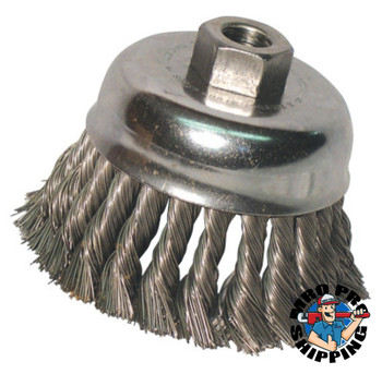 Anchor Products Knot Wire Cup Brush, 6 in Dia., 5/8-11 Arbor, .025 in Carbon Steel, Double Row (1 EA/KT)