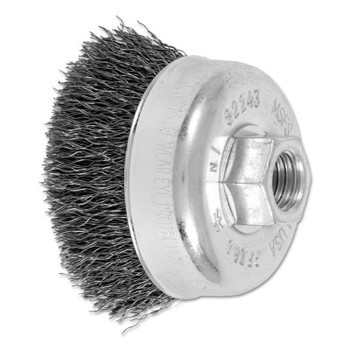 Advance Brush Mini Crimped Cup Brush, 2 3/4 in Dia., 5/8-11 Arbor, .014 in Steel Wire (1 EA/EA)