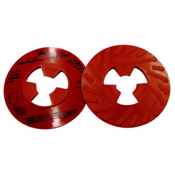 3M Disc Pad Face Plates, 5 in Dia, Extra Hard, Red (1 EA/EA)
