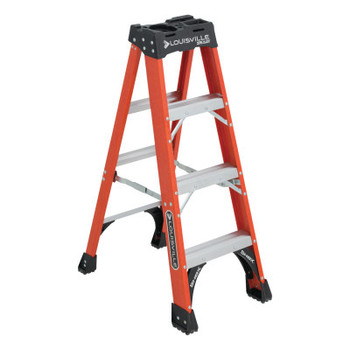 Louisville Ladder FS1400HD Series Brute 375 Fiberglass Step Ladder, 4 ft x 18 7/8 in, 375 lb Cap. (1 EA/EA)