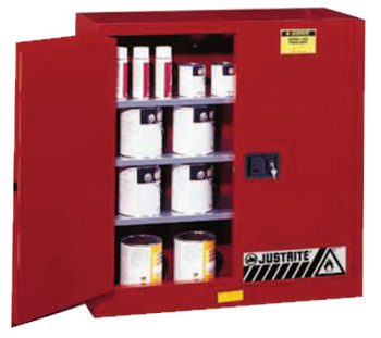Justrite Safety Cabinets for Combustibles, Manual-Closing Cabinet, 40 Gallon, Red (1 EA/EA)