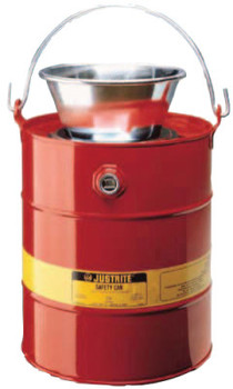 Justrite Drain Cans, Flammable Waste Can, 3 gal, Red, Funnel (1 CAN/EA)