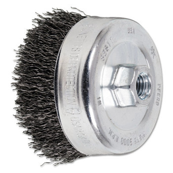Advance Brush Crimped Cup Brush, 4 in Dia., 5/8-11 Arbor, 0.02 in Steel Wire (1 EA/EA)