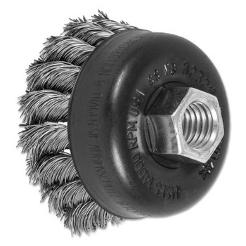 Advance Brush Mini Knot Cup Brush, 2 3/4 in Dia., 5/8-11 Arbor, .014 in Stainless Steel Wire (1 EA/EA)