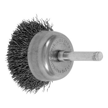 Advance Brush Stem Mounted Cup Brushes, 1 3/4 in Dia., 0.012 in, Carbon Steel Wire (10 BOX/EA)