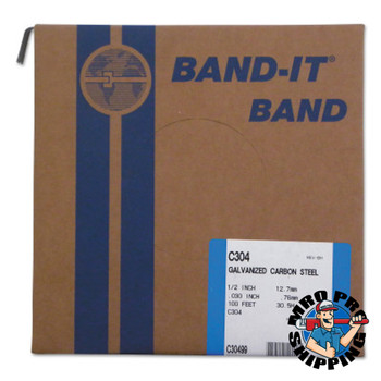 Band-It Bands, 1/2 in, 100 ft, 0.03 in, Galvanized Carbon Steel (1 ROL/EA)