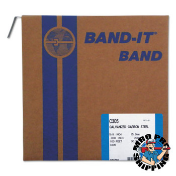 Band-It Bands, 5/8 in, 100 ft, 0.03 in, Galvanized Carbon Steel (1 ROL/EA)