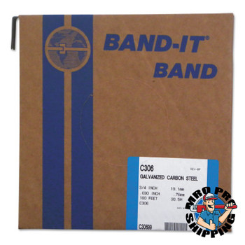 Band-It Bands, 3/4 in, 100 ft, 0.03 in, Galvanized Carbon Steel (1 ROL/EA)