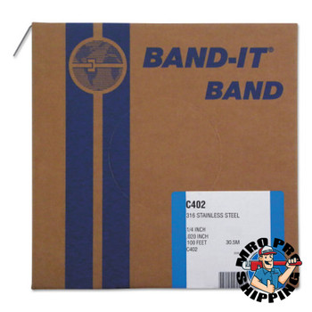 Band-It Type 316 Bands, 1/4 in x 100 ft, 0.02 in Thick, Stainless Steel (1 RL/EA)