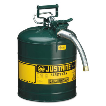 Justrite Type II AccuFlow Safety Cans, Oils, 5 gal, Green (1 EA/EA)