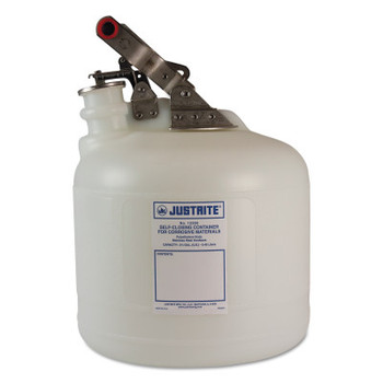 Justrite Self-Close Corrosive Containers for Labs, Hazardous Liquid, 2 1/2 gal, White (1 EA/EA)