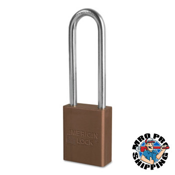 American Lock Solid Aluminum Padlocks, 1/4 in Diam., 3 in L X 3/4 in W, Brown (6 BOX/EA)