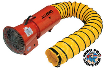 Allegro DC Axial Blowers w/Canister, 1/4 hp, 12 VDC, 15 ft. Ducting (1 EA/EA)