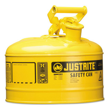 Justrite Type I Safety Cans, Diesel, 2 1/2 gal, Yellow (1 EA/EA)
