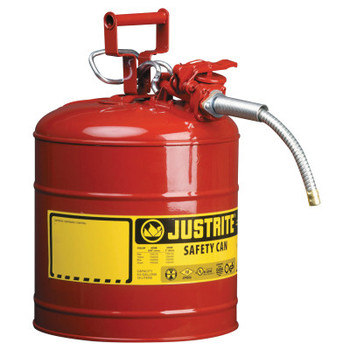 Justrite Type II AccuFlow Safety Cans, Flammables, 5 gal, Red (1 EA/EA)