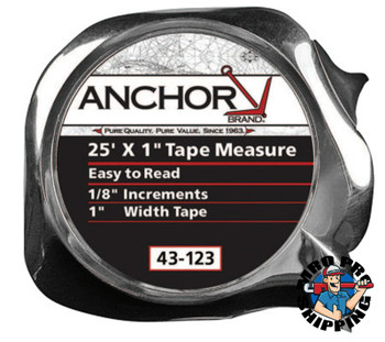 Anchor Products Easy to Read Tape Measures, 1 in x 25 ft, Chrome (1 EA)