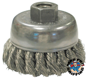 Anderson Brush Knot Wire Cup Brushes, 2 3/4 in D, 5/8-11 Arbor, 0.014 Stainless Steel Wire (1 EA/EA)