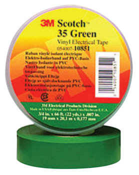 3M Scotch Vinyl Electrical Color Coding Tapes 35, 66 ft x 3/4 in, Green (1 RL/EA)
