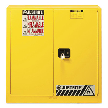 Justrite Yellow Safety Cabinets for Flammables, Manual-Closing Cabinet, 35 in, 30 Gallon (1 EA/EA)