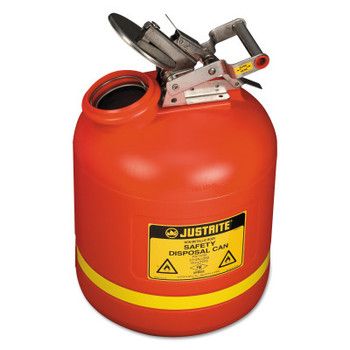 Justrite Red Liquid Disposal Cans, Flammable Waste Can, 5 gal, Red, Stainless Steel (1 CAN/EA)