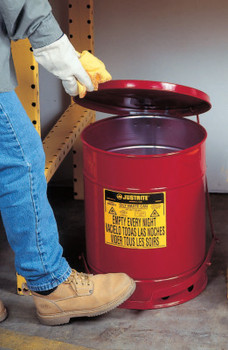 Justrite Red Oily Waste Cans, Hand Operated Cover, 6 gal, Red (1 EA/EA)