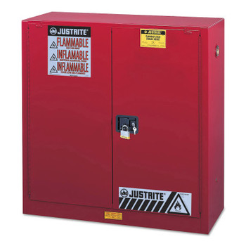 Justrite Safety Cabinets for Combustibles, Self-Closing Cabinet, 40 Gallon, Red (1 EA/EA)