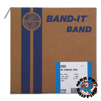 Band-It Type 316 Bands, 3/8 in x 100 ft, 0.025 in Thick, Stainless Steel (1 RL/EA)