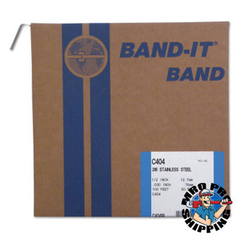 Band-It Type 316 Bands, 1/2 in x 100 ft, 0.03 in Thick, Stainless Steel (1 RL/EA)